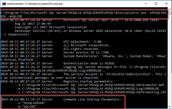Starting SQL Server from the console with -m parameter.