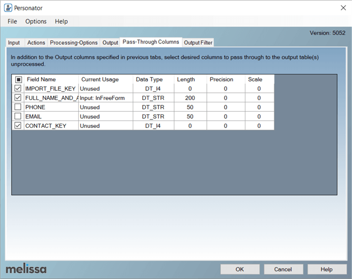 Configure the Personator SSIS component Pass-Through Columns tab