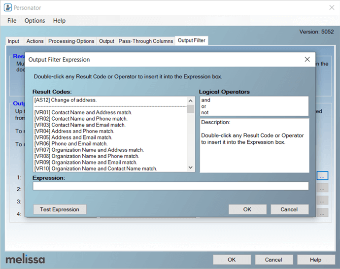 Configure the Personator SSIS component Output Filter tab