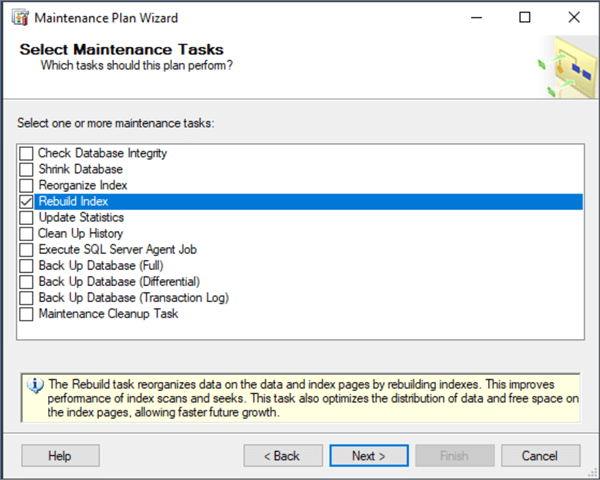maintenance plan wizard tasks