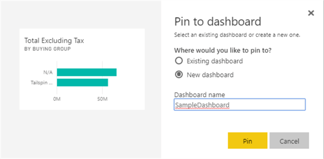 pin visual to new dashboard