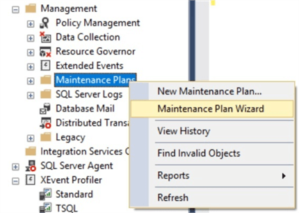 start maintenance plan wizard