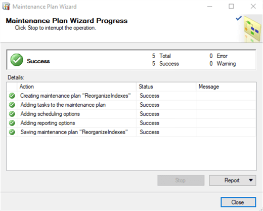 maintenance plan wizard complete