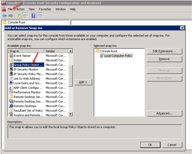 MMC Console - Group Policy Objects Editor