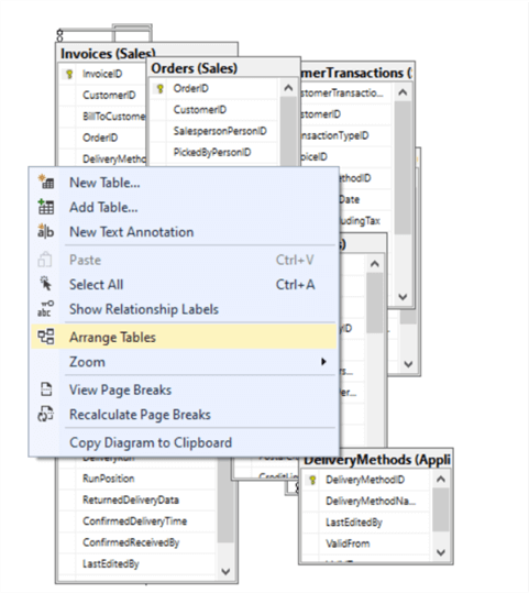 SSMS Database Diagram - Arrange Tables
