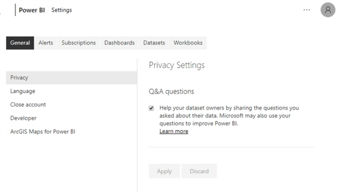 power bi settings