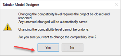 Confirm changing compatibility level