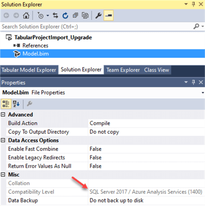 Validate compatibility level after project reload