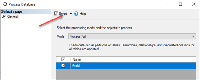 Generate Process command for the tabular database