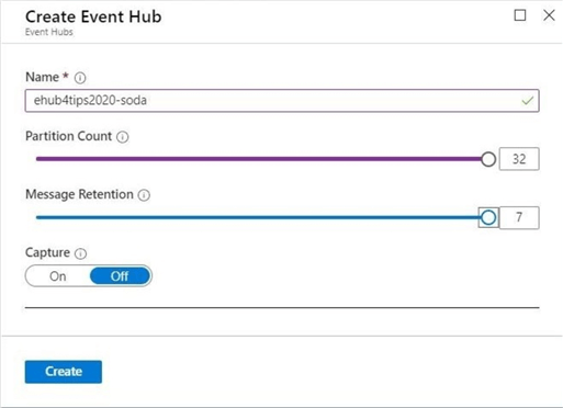 Event Hub - Partition count, message retention and capture status are all properties of the hub.