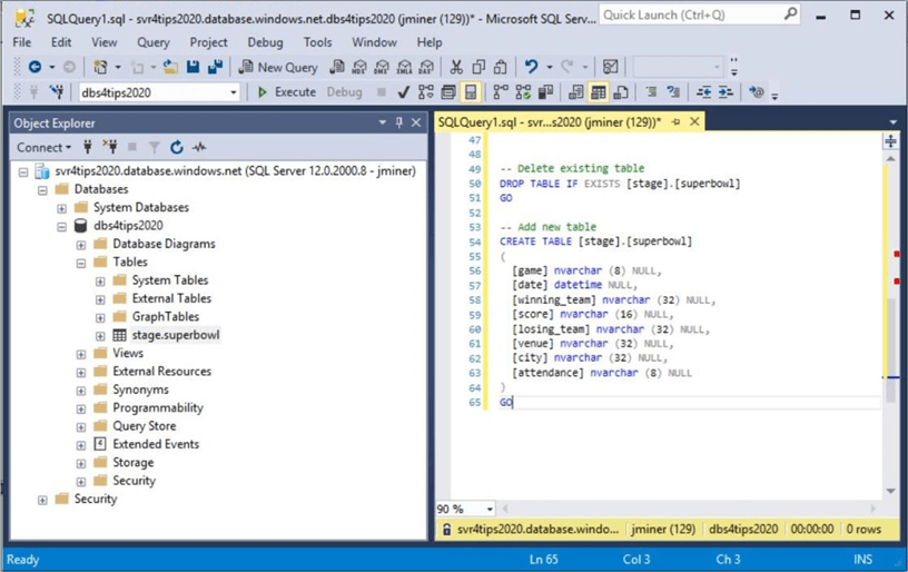 Power Query Source - Create schema for Azure SQL database.