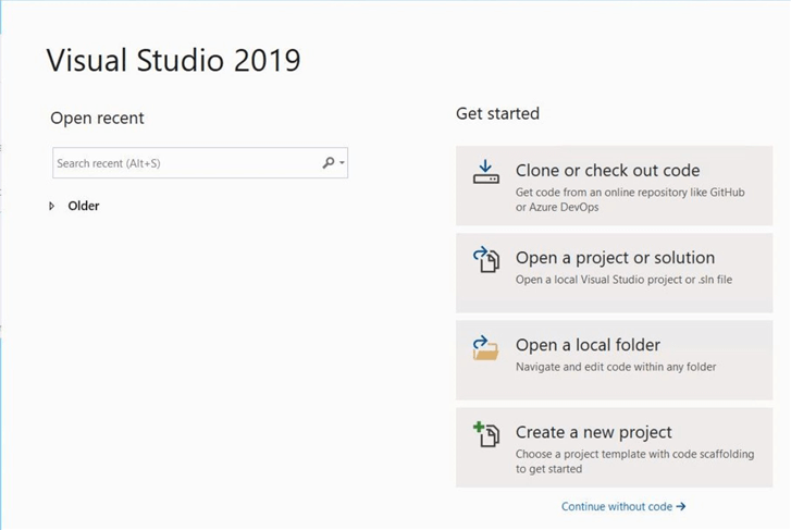 Power Query Source - First launch of Visual Studio 2019.