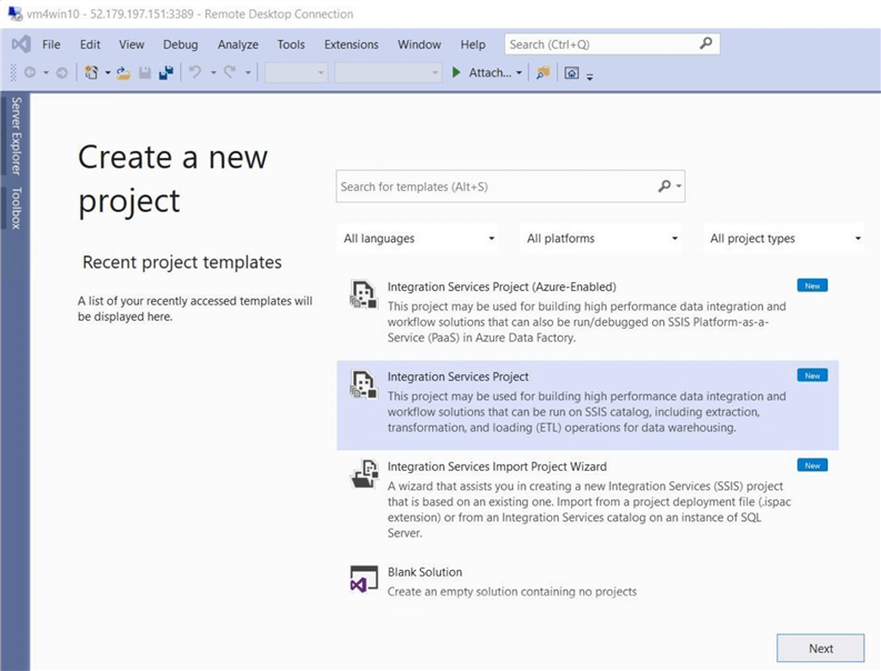 Power Query Source - Create new project in VS 2019.