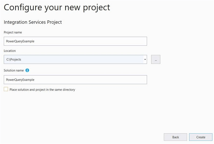 Power Query Source - Configure new project in VS 2019.