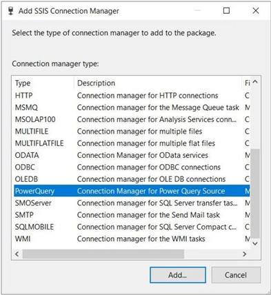 Power Query Source - Various connection managers in SSIS.