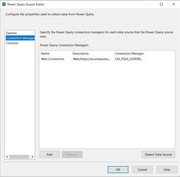 Power Query Source - Choose the existing PQ connection.