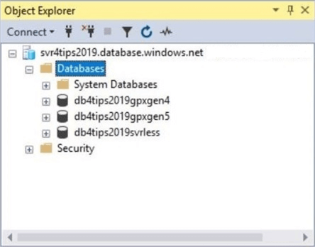 General Purpose - SSMS Object explorer with the logical server and three databases.