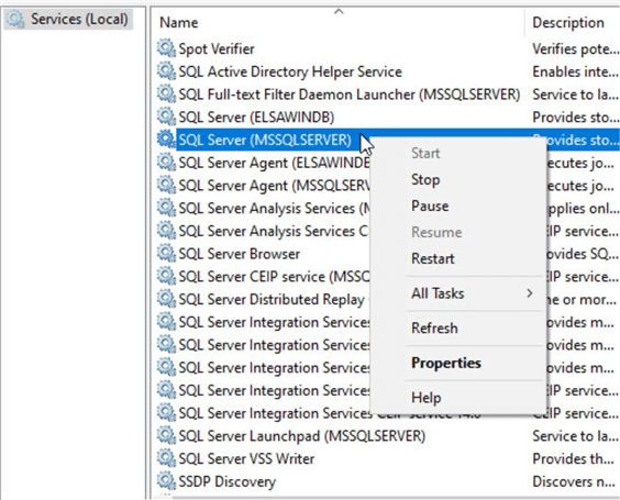 Using Service Manager to Start or Stop SQL Server related services.