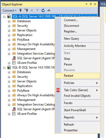 You can start and stop SQL Server and SQL Server Agent from Object Explorer window of SSMS.