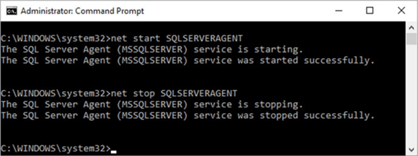 Start and stop of SQL Server Agent service using net console command.