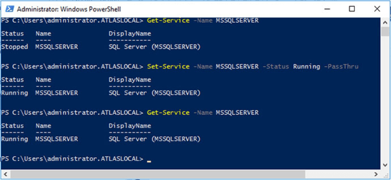 Obtaining SQL Server default instance status and starting it up using PowerShell.