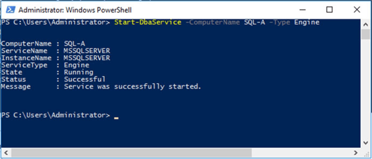 Remote starting SQL server engine service using dbatools.
