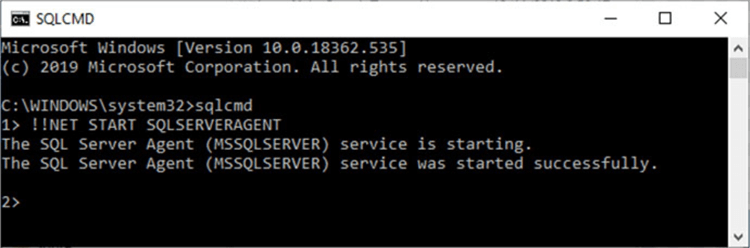 Starting SQL Server Agent service from sqlcmd console.