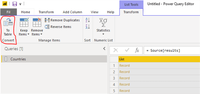 power query list tools