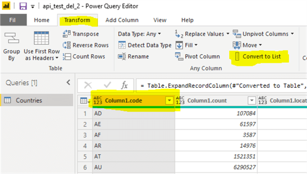 power query convert to list