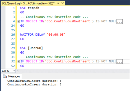 The same code completed in 8 seconds on TempDB and 8 seconds in UserDB