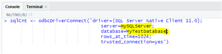 rstudio connect to sql server