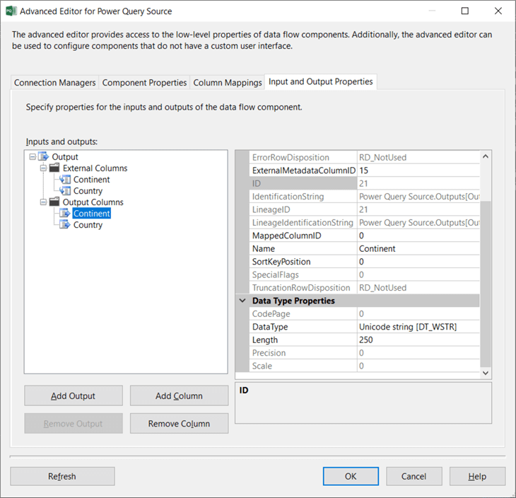 change data types in advanced editor