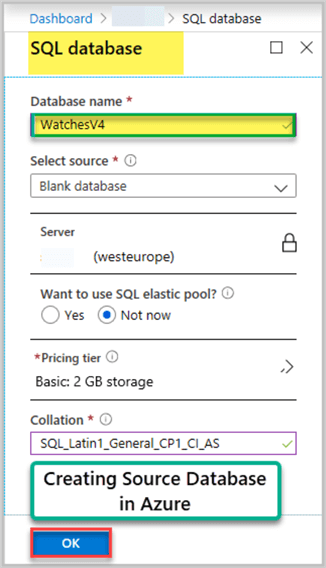 Azure SQL Database as Source (WatchesV4)