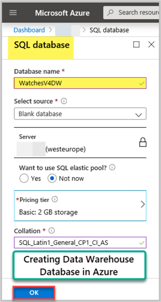Azure Staging Database (WatchesV4DW)