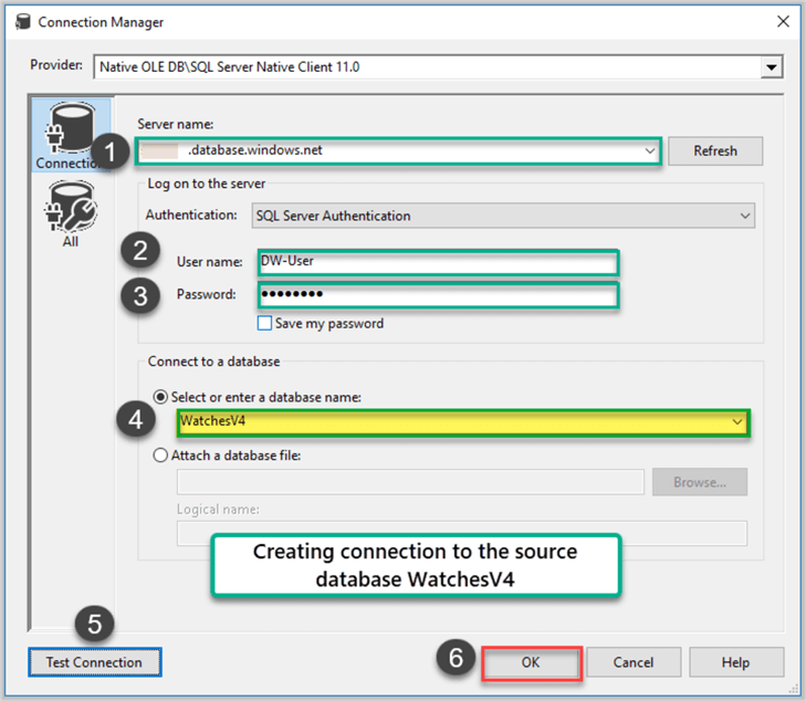 Creating Connection to Source Database WatchesV4