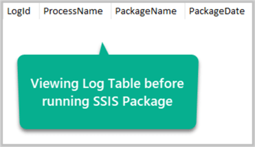 Viewing Log Table before Package Run