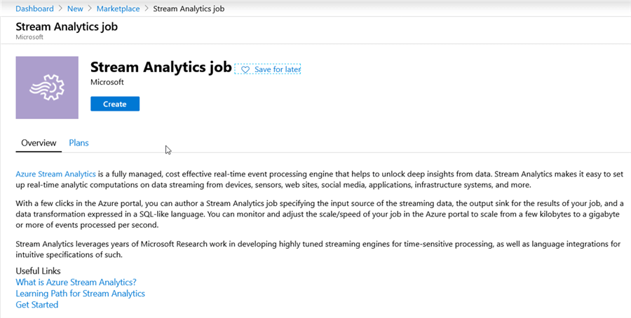 create Stream Analytics Job resource