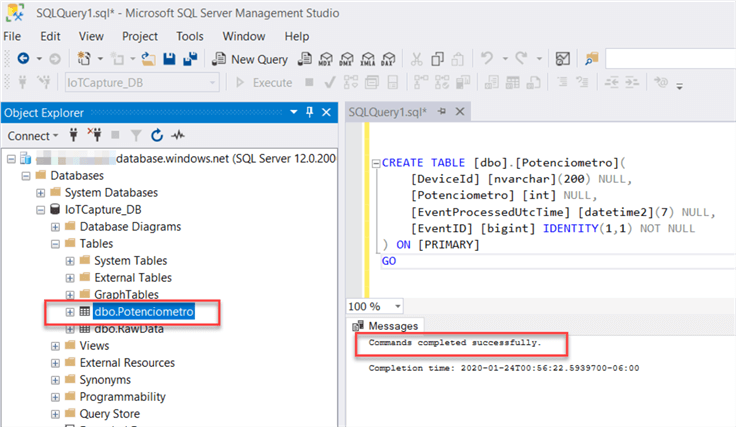 SQL DB table creation