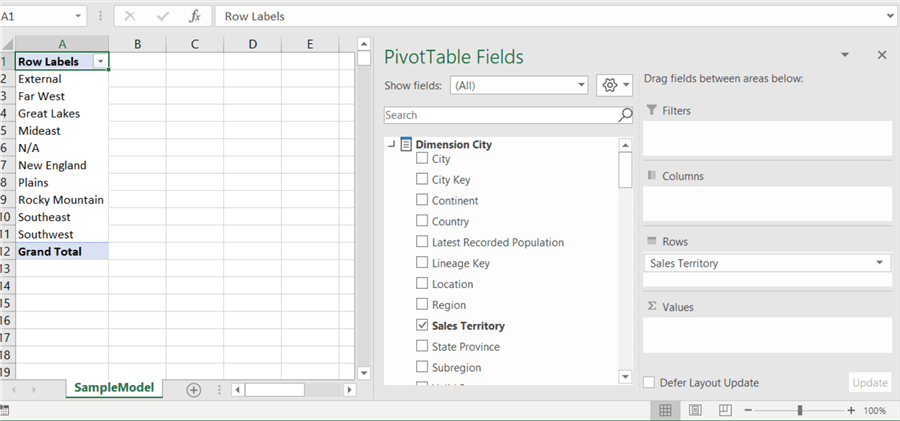 analyze in excel pivottable