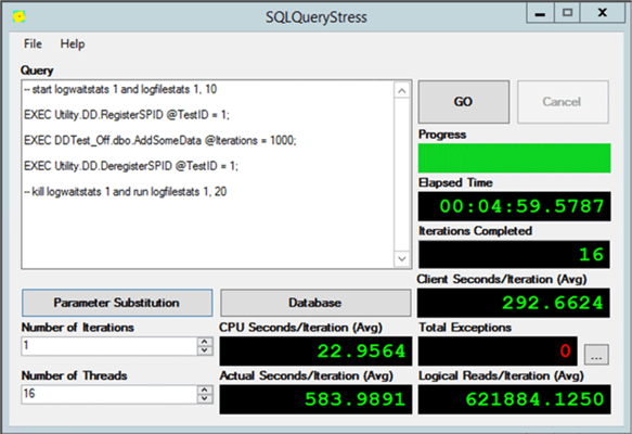 An example of running test 1 from SQLQueryStress.