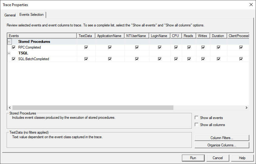 sql profiler events selection