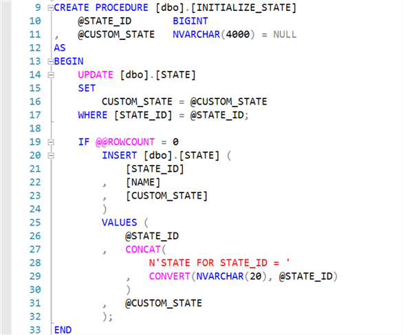 Create INITIALIZE_STATE stored procedure.