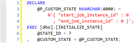 Sample execution of INITIALIZE_STATE stored procedure.