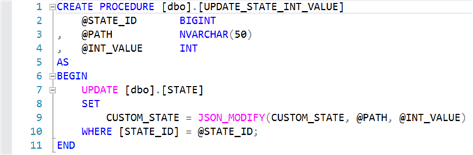 Create UPDATE_STATE_INT_VALUE stored procedure.