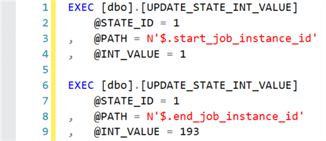 Sample execution of UPDATE_STATE_INT_VALUE stored procedure.