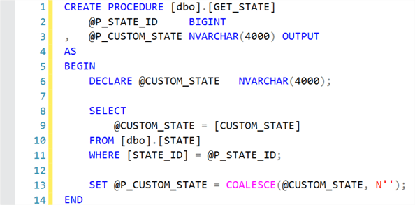 Create GET_STATE stored procedure.