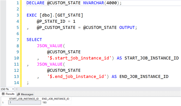 Sample execution of GET_STATE stored procedure.