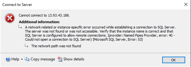 sql server connection error