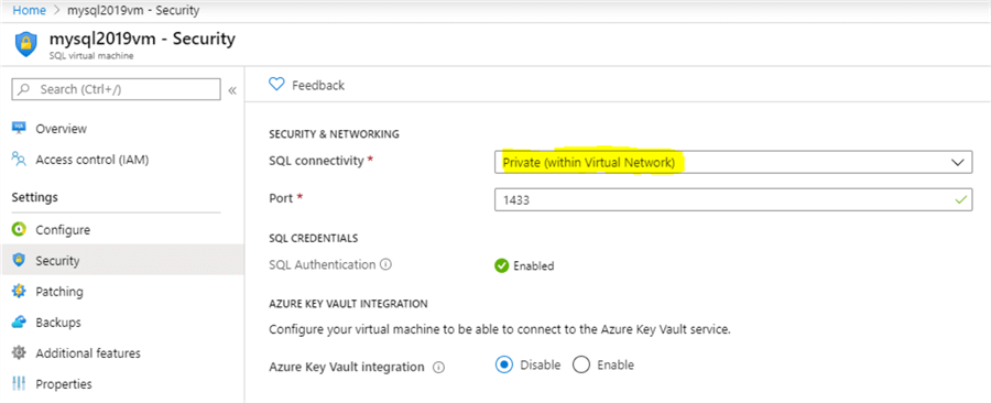 azure sql authentication settings