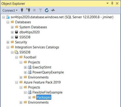 The SSIS catalog deployed to a Azure SQL database